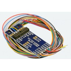 Decoder adapter PCB PluX22 for 9 outputs, with soldering pads and wires, ESU 51958